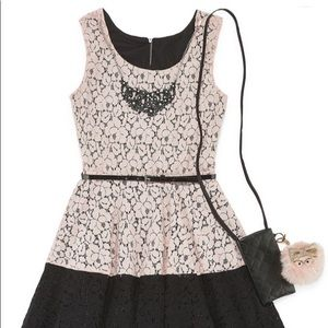Brand new girls party dress with blush lace front